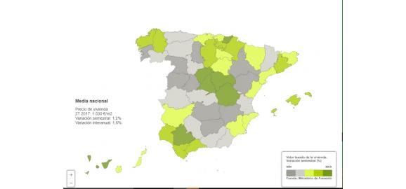 mapa de la evolucion del precio de la vivienda por provincias en lo que va de 2017